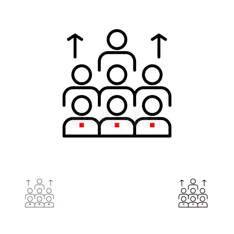 Mutige und dünne schwarze Linie Ikonensatz der Arbeitskräfte, des Geschäfts, des Menschen, der Führung, des Managements, der Orga vektor abbildung