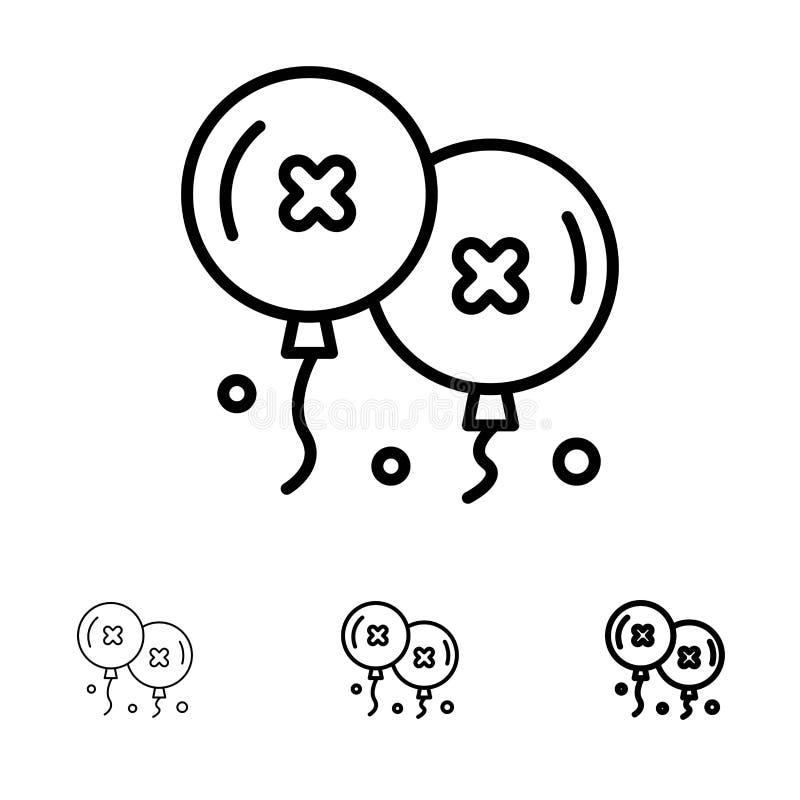 Mutige und dünne schwarze Linie Ikonensatz der Ballone, des Geburtstages, der Geburtstagsfeier, der Feier stock abbildung