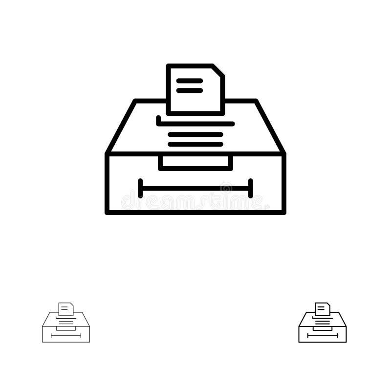 Mutige und dünne schwarze Linie Ikonensatz der Daten, des Archivs, des Geschäfts, der Informationen lizenzfreie abbildung