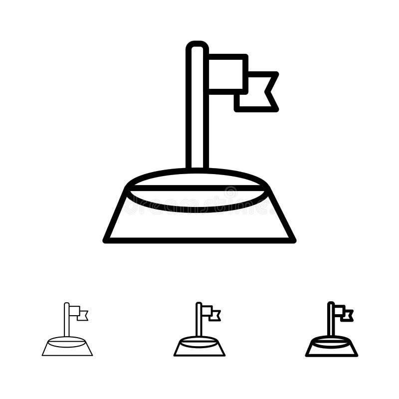 Mutige und dünne schwarze Linie Ikonensatz der Ecke, der Flagge, des Golfs, des Sports vektor abbildung