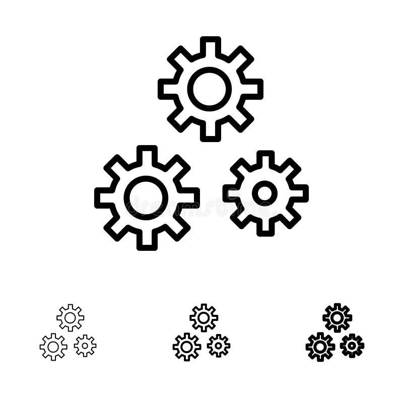 Mutige und dünne schwarze Linie Ikonensatz der Konfiguration, der Gänge, der Präferenzen, des Services vektor abbildung