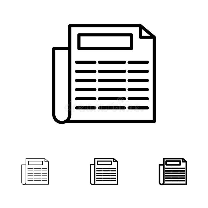 Mutige und dünne schwarze Linie Ikonensatz der Nachrichten, des Papiers, des Dokuments lizenzfreie abbildung