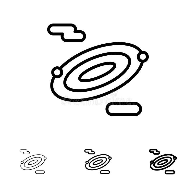 Mutige und dünne schwarze Linie Ikonensatz der Rotation, der Wissenschaft, des Raumes stock abbildung