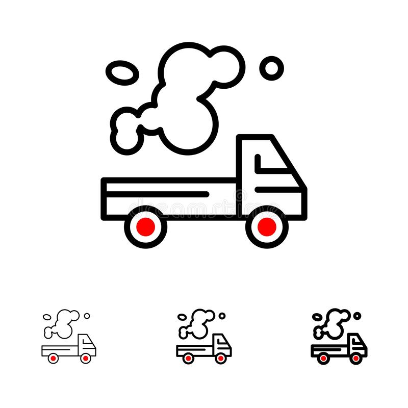 Mutige und dünne schwarze Linie Ikonensatz des Automobils, des LKWs, der Emission, des Gases, der Verschmutzung stock abbildung
