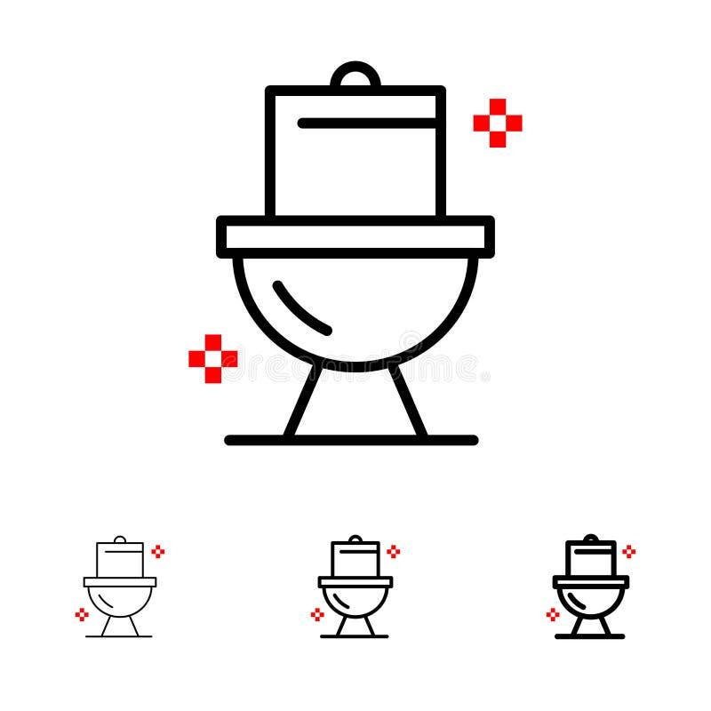 Mutige und dünne schwarze Linie Ikonensatz des Badezimmers, der Reinigung, der Toilette, des Waschraumes lizenzfreie abbildung
