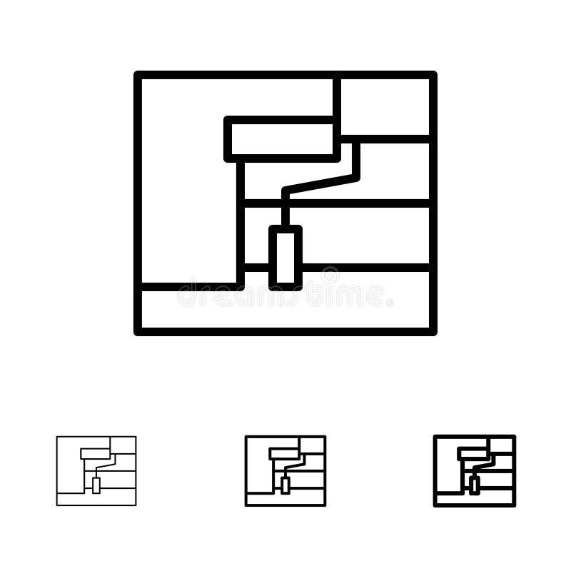 Mutige und dünne schwarze Linie Ikonensatz des Baus, der Malerei, der Rolle, des Werkzeugs stock abbildung