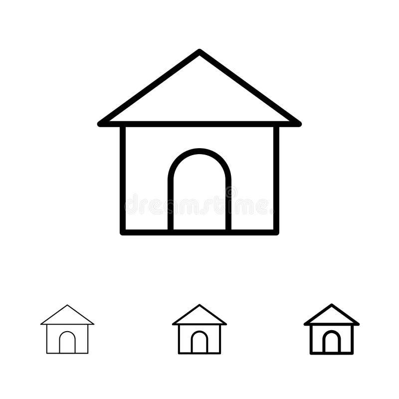 Mutige und dünne schwarze Linie Ikonensatz des Gebäudes, des Schlauches, des Hauses, des Geschäftes vektor abbildung