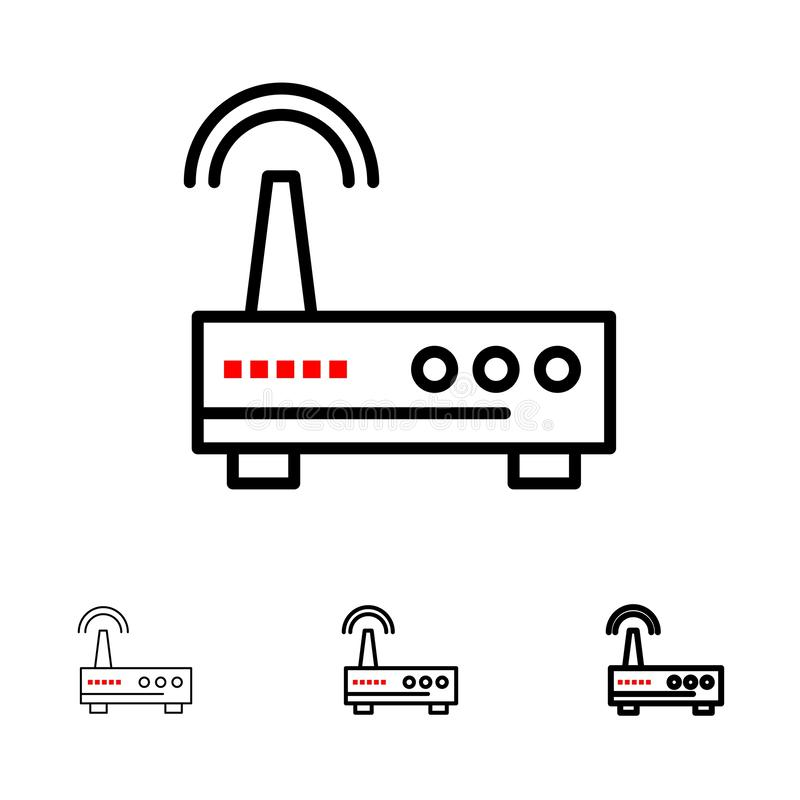 Mutige und dünne schwarze Linie Ikonensatz des Gerätes, Wifi, des Signals, der Ausbildung lizenzfreie abbildung