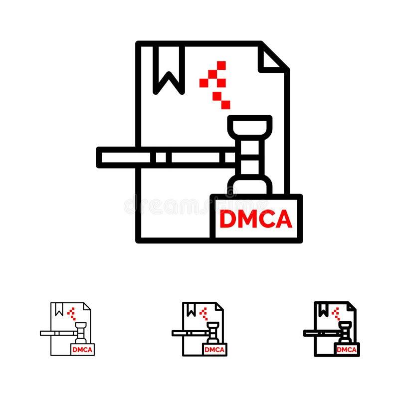 Mutige und dünne schwarze Linie Ikonensatz des Geschäfts, Copyrights, Digital, Dmca, der Datei stock abbildung