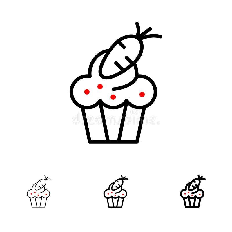 Mutige und dünne schwarze Linie Ikonensatz des Kuchens, der Schale, der Nahrung, Ostern, der Karotte lizenzfreie abbildung