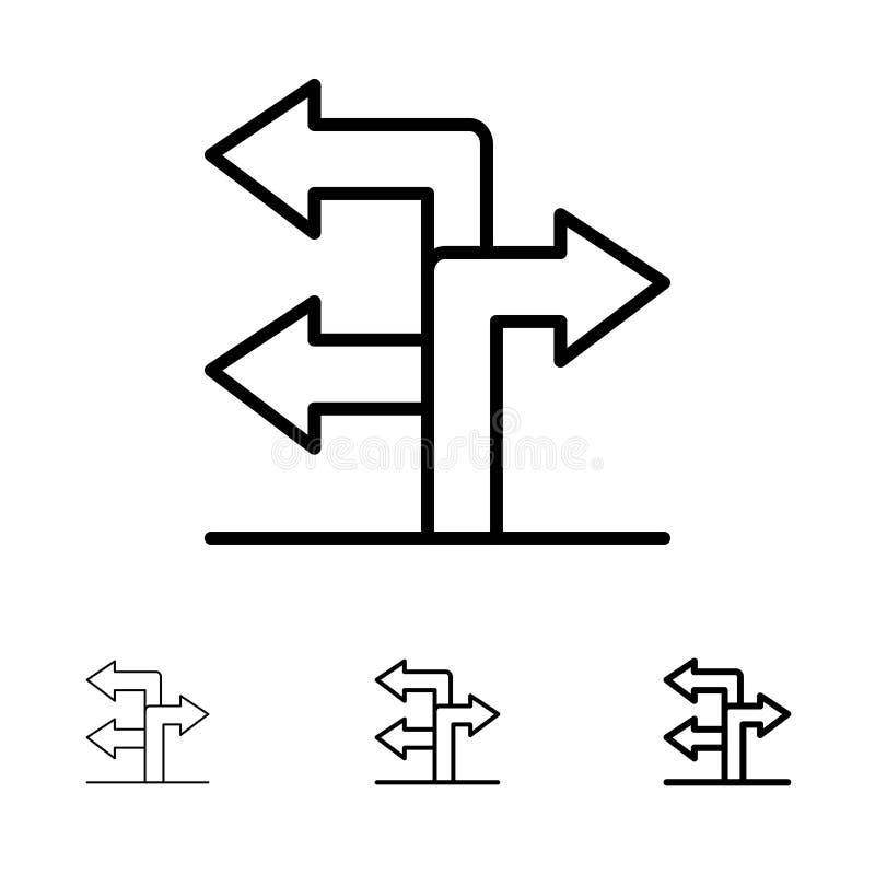Mutige und dünne schwarze Linie Ikonensatz des Pfeiles, der Richtung, der Navigation lizenzfreie abbildung