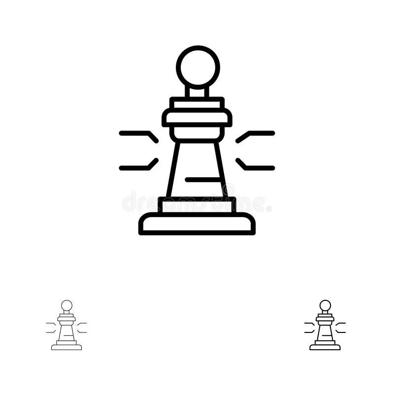 Mutige und dünne schwarze Linie Ikonensatz des Schachs, des Spiels, des Spielers, Königs, des Schürhakens lizenzfreie abbildung