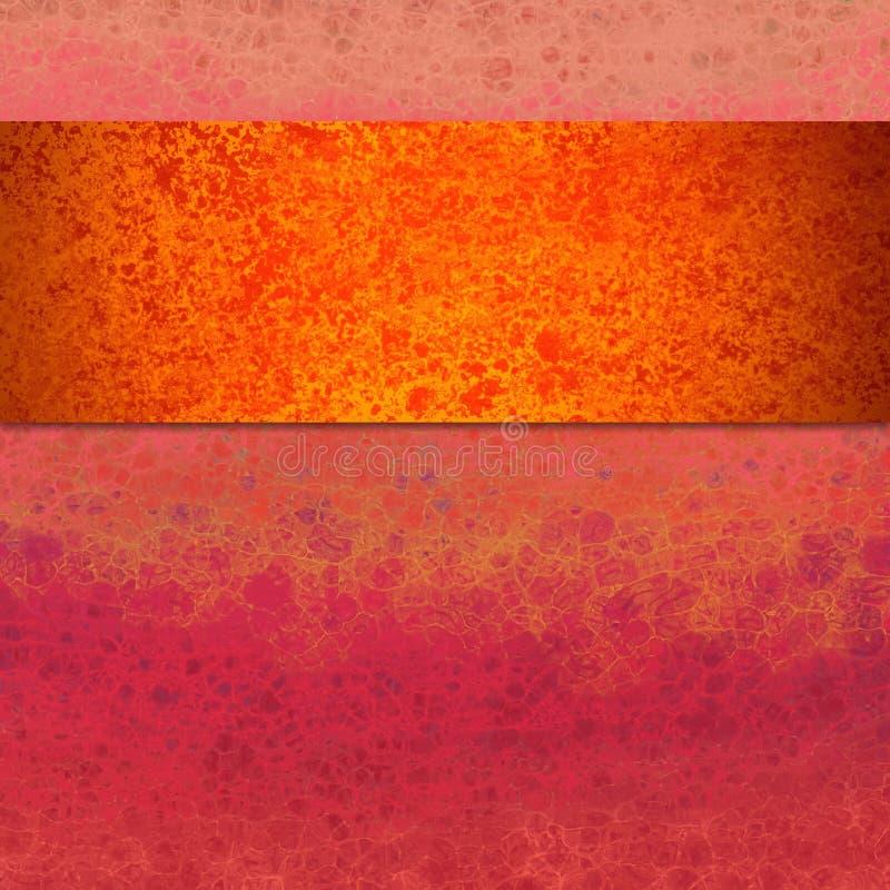 Mutiger bunter abstrakter Hintergrundentwurf mit vielen Beschaffenheit, Orange und Goldband oder -streifen auf Rosa und purpurrot lizenzfreie abbildung