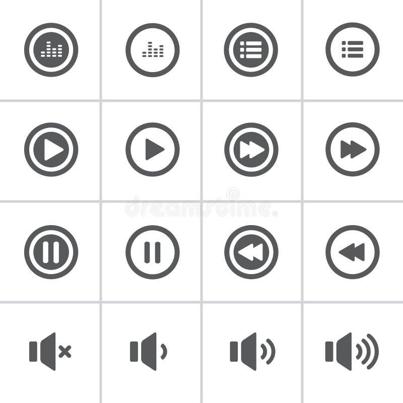 Mutiger Ikonensatz des Audios und der Musik, flache Designikone lizenzfreie abbildung