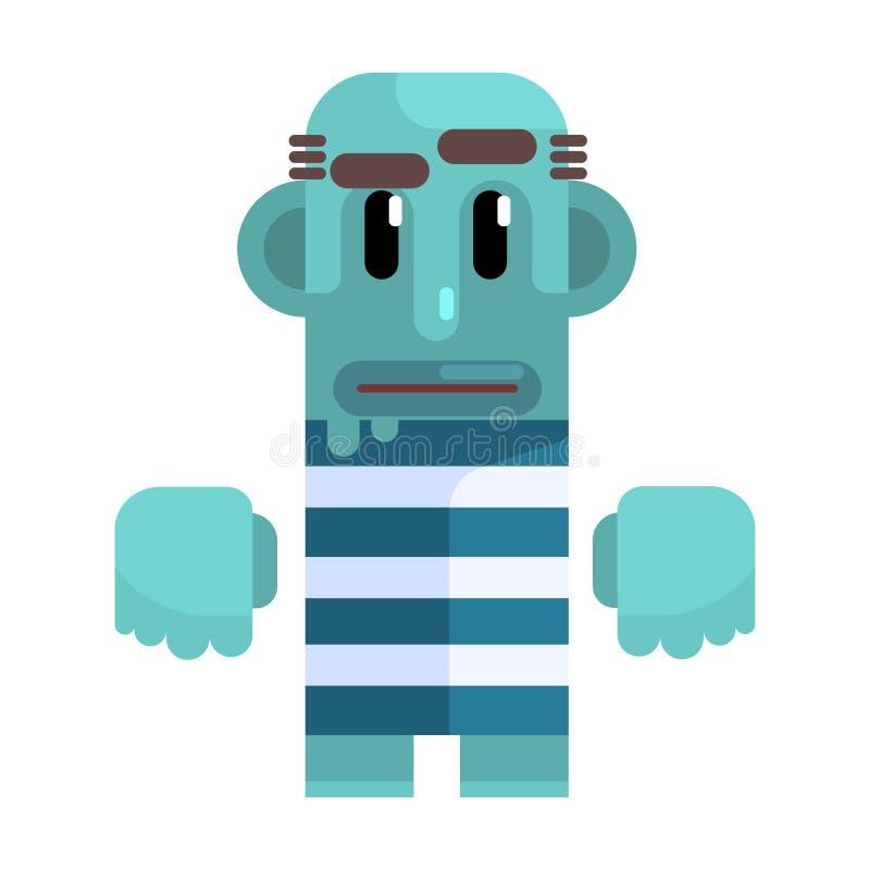Mutiger Vagabund mit blauer Haut in gestreifter Marine Top, auflehnender Obdachloser, Rückstand der Gesellschaft, Pixelated verei vektor abbildung