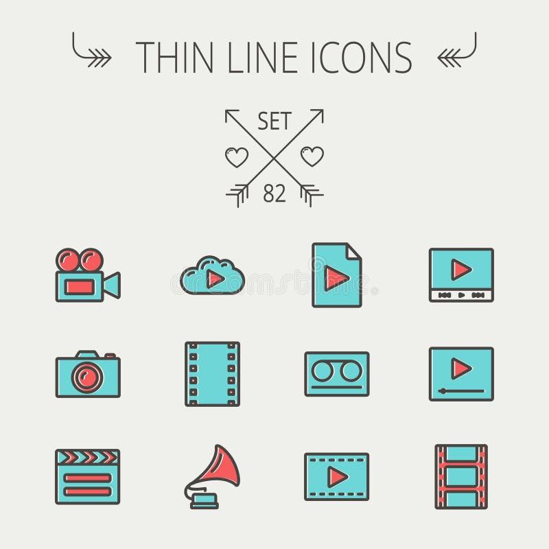 Mutimedia tunn linje symbolsuppsättning stock illustrationer