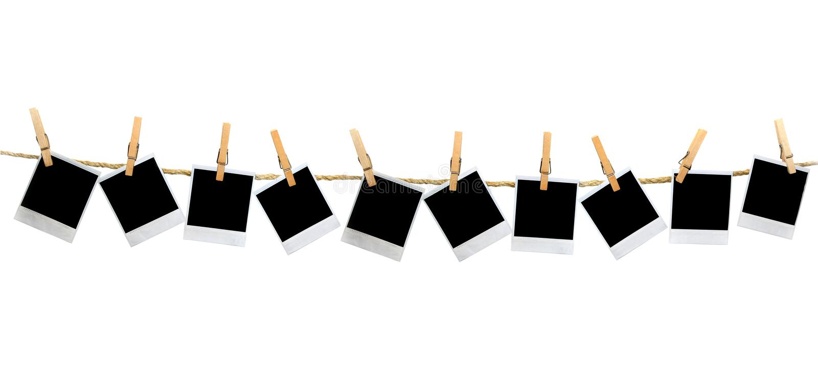 Download Mutiple Blank Polaroid Frames Hanging By Clothesp Stock Photo - Image: 4082668