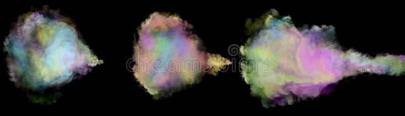 Rainbow colored unicorn farts isolated on black background. Mutlcolored rainbow unicorn fart set isolated on black background royalty free stock photography