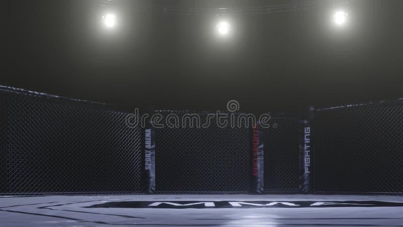 Muttahida Majlis-E-Amal竞技场侧视图 在光下的空的战斗笼子 3d?? 向量例证