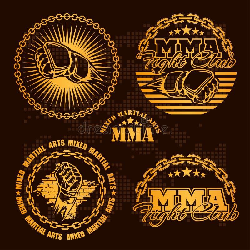 Muttahida Majlis-E-Amal смешал значки эмблемы боевых искусств - комплект вектора иллюстрация вектора
