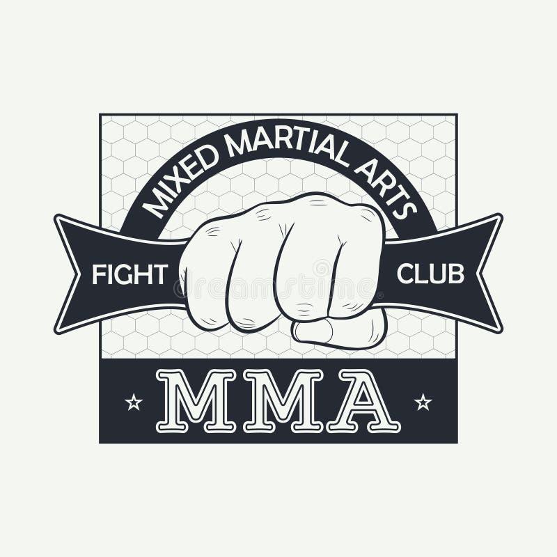 Muttahida Majlis-E-Amal Lutador tailandês de Muay Logotipo do clube da luta Imprima para a roupa do projeto, selo do t-shirt, tip ilustração stock