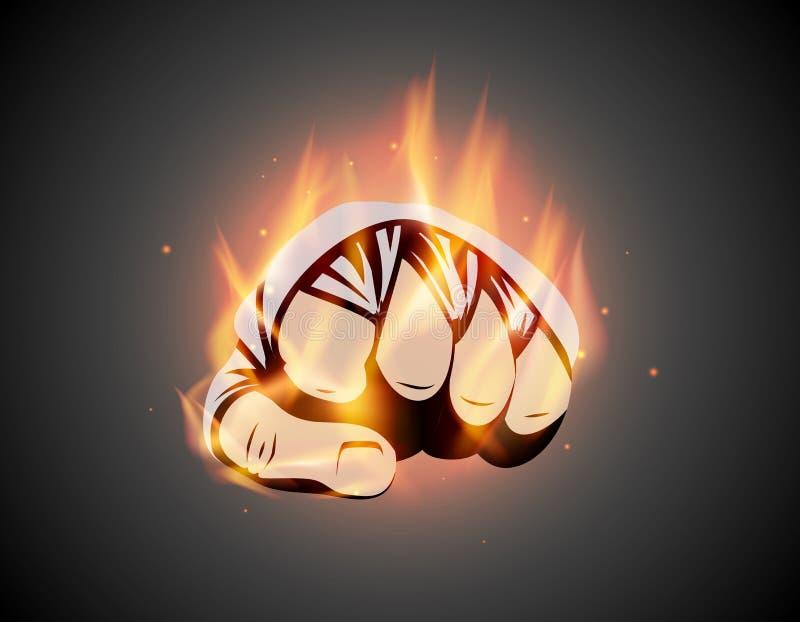 Muttahida Majlis-e-Amal oder brennende Verbandfaust des Verpackens mischte die Kampfkünste, die Flammenhandemblem oder Logoidee k stock abbildung