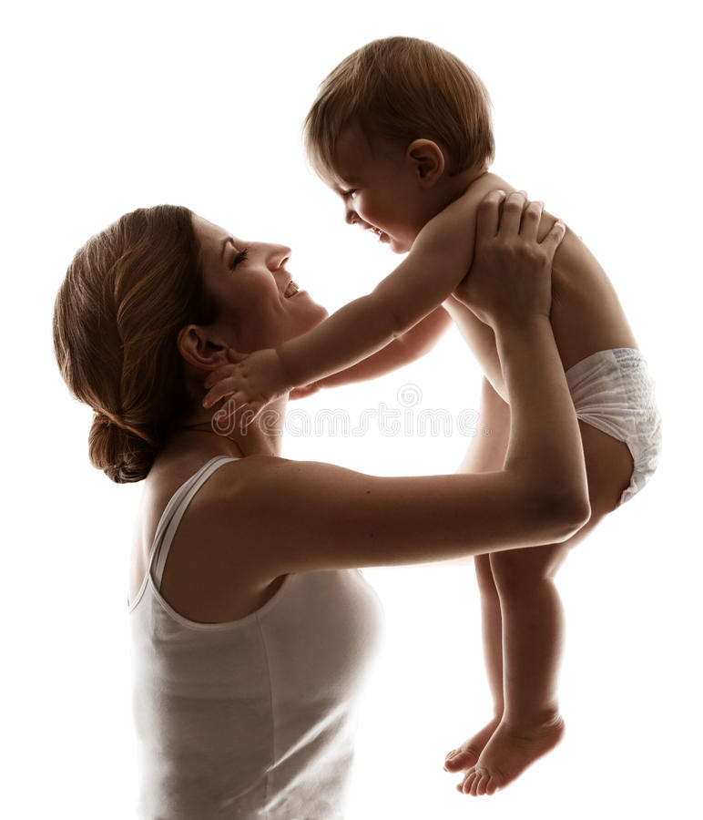 Mutter-Baby, Mutter und glückliches Kind, Frau mit Kind, Familien-Weiß stockbilder