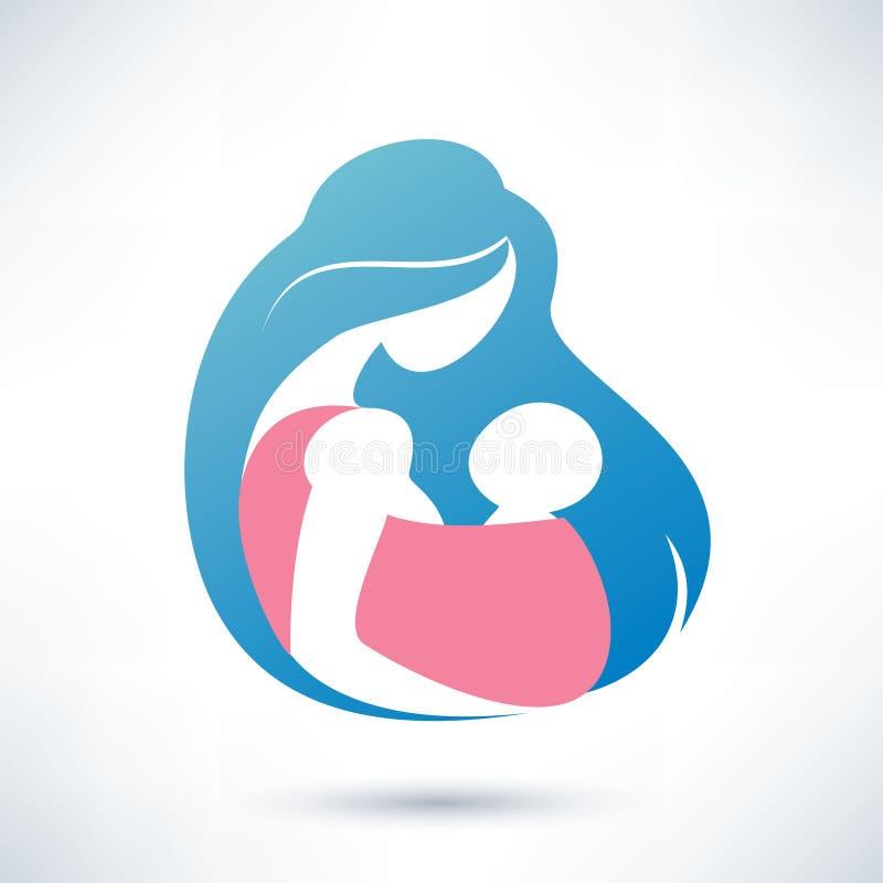 Mutter, die Baby im Riemen hält vektor abbildung