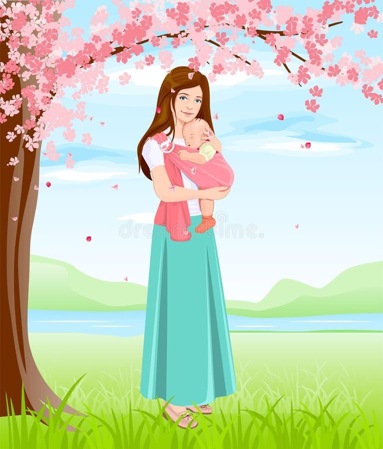Mutter, die Baby im Riemen hält Junge Mutter unter blühendem Baum lizenzfreie abbildung