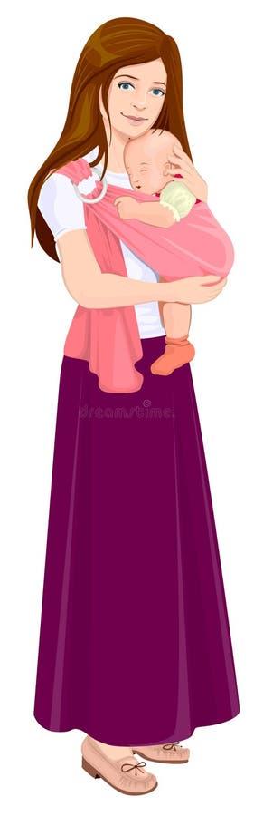 Mutter, die Baby im Riemen hält Schöne junge Mutter und Kind stock abbildung