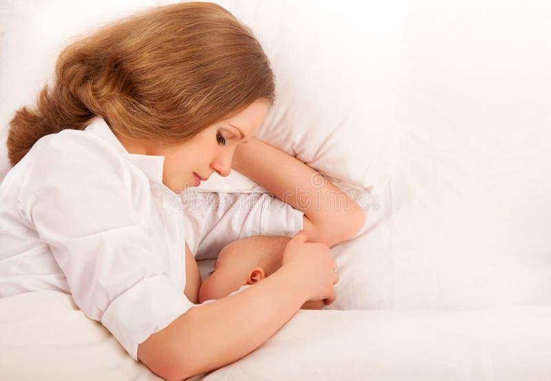 Mutter, die ihr Schätzchen im Bett speist. zusammen schlafen lizenzfreie stockfotos