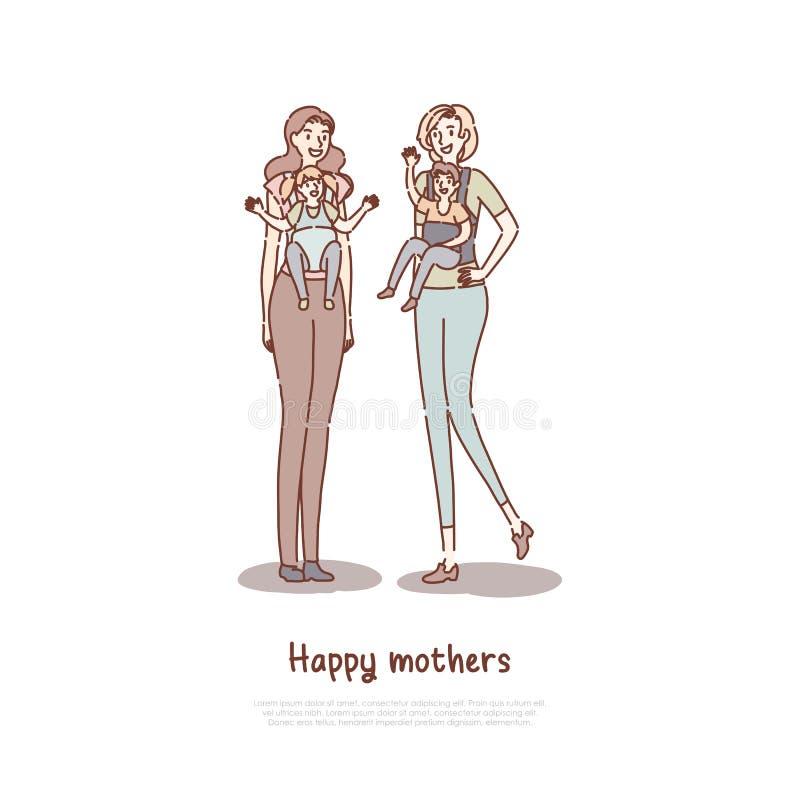 Mutter, die Kinder in den Babytragen, glückliche Mutterfreunde zusammen gehen, Freundinnen mit Kinderfahnenschablone hält stock abbildung