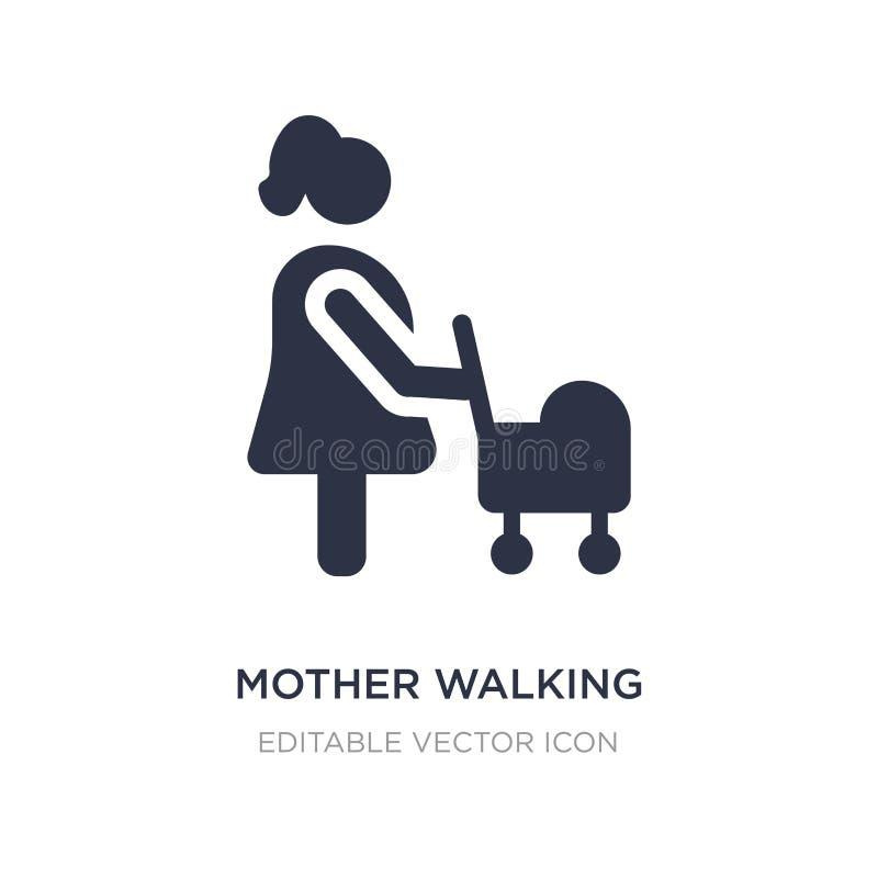 Mutter, die mit Kinderwagenikone auf weißem Hintergrund geht Einfache Elementillustration vom Leutekonzept vektor abbildung
