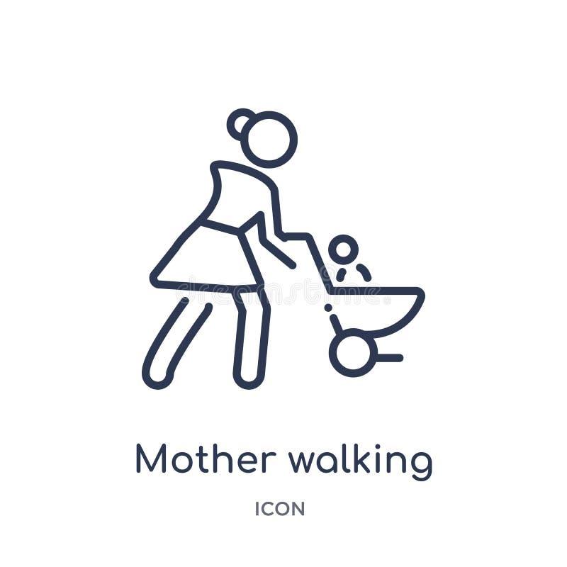 Mutter, die mit Kinderwagenikone von der Leuteentwurfssammlung geht Dünne Linie Mutter, die mit der Kinderwagenikone lokalisiert  vektor abbildung