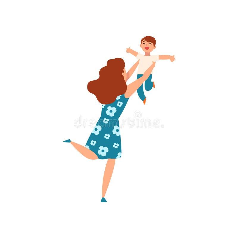 Mutter, die oben ihren Sohn wirft und ihn, junge Frau spielt mit ihrem Kind, Mutterschaft, Erziehnungskonzeptvektor fängt vektor abbildung