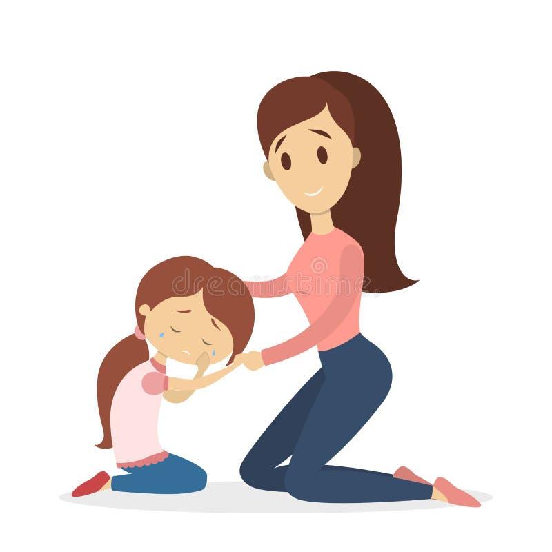 Mutter, die trauriges Mädchen beruhigt stock abbildung