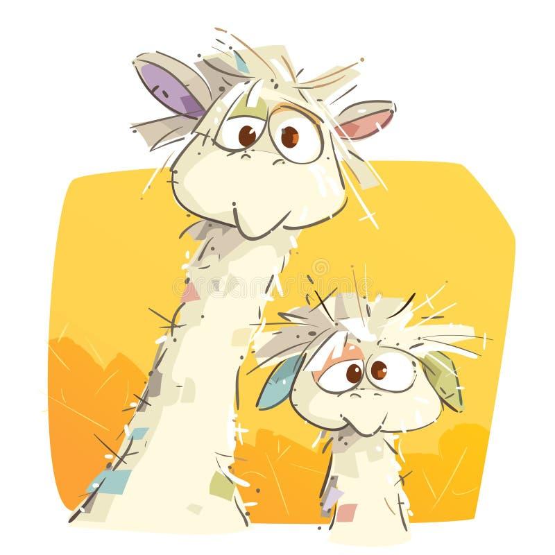 Mutter-Lama und ihr Baby stock abbildung