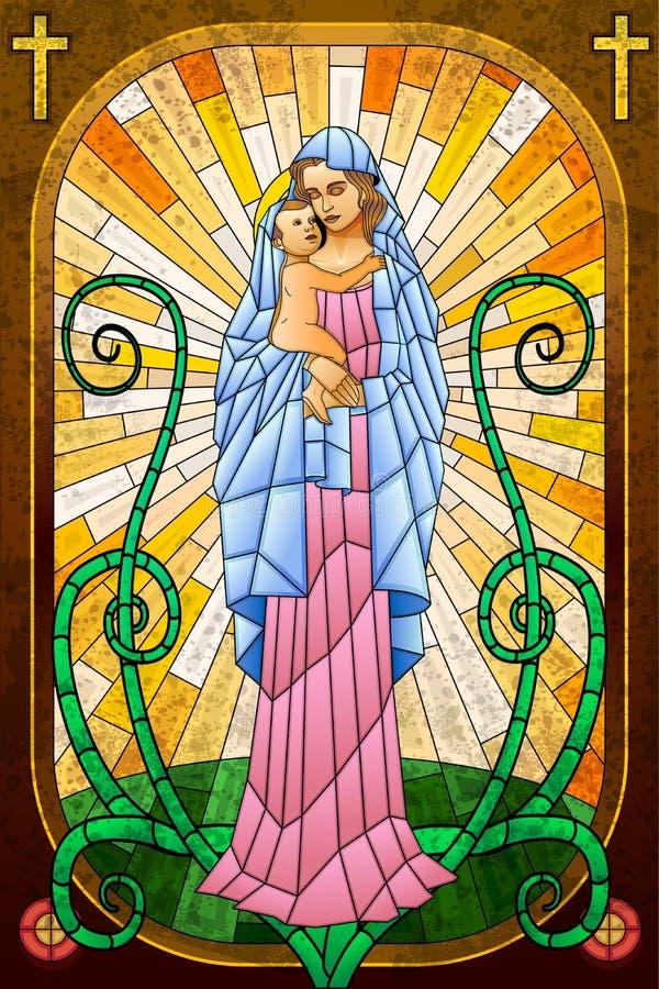 Mutter Mary mit Jesus Christ lizenzfreie abbildung