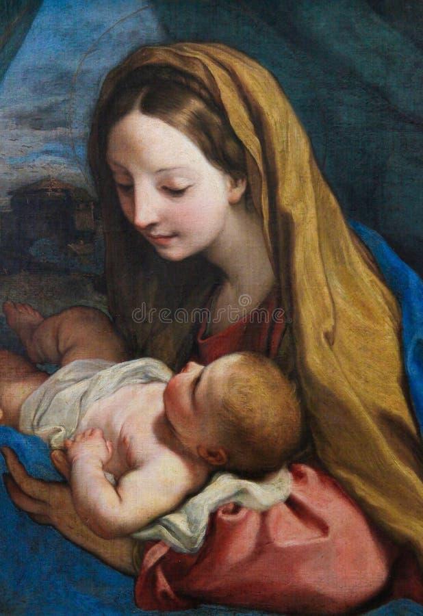 Mutter Mary und Kind Jesus stock abbildung