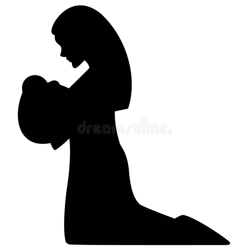 Mutter Mary und Schätzchen Jesus lizenzfreie abbildung