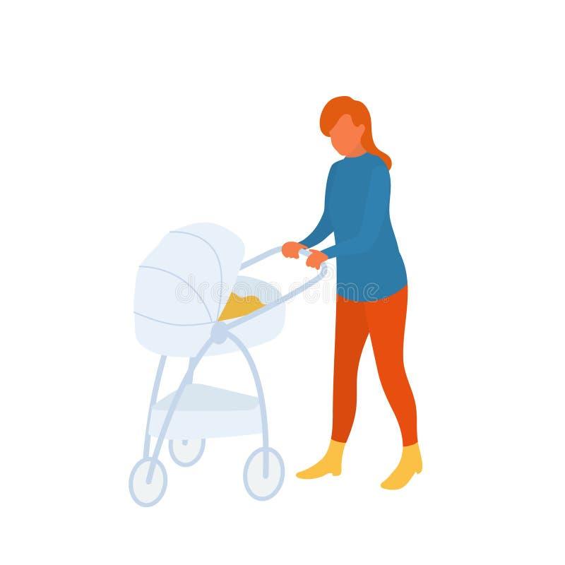 Mutter mit Baby in einem Spaziergänger auf dem Weg auf Frischluft stock abbildung