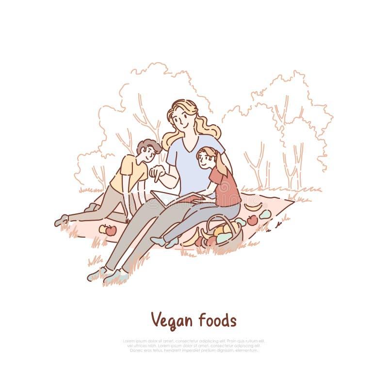 Mutter mit den Kindern, die Picknick, Mutter mit Sohn und die Tochter isst Fr?chte auf Natur, Babysitterlesekinderbuchfahne haben stock abbildung