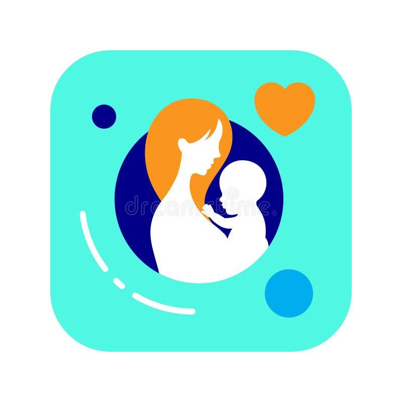 Mutter mit flacher Ikone des Babys Farb Mutter`s Tag Elternliebe Vektor clipart, Illustration, Schablone lizenzfreie abbildung
