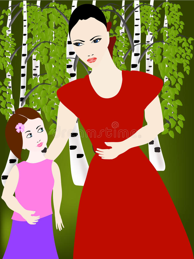 Mutter mit ihrer Tochter im Wald lizenzfreie abbildung