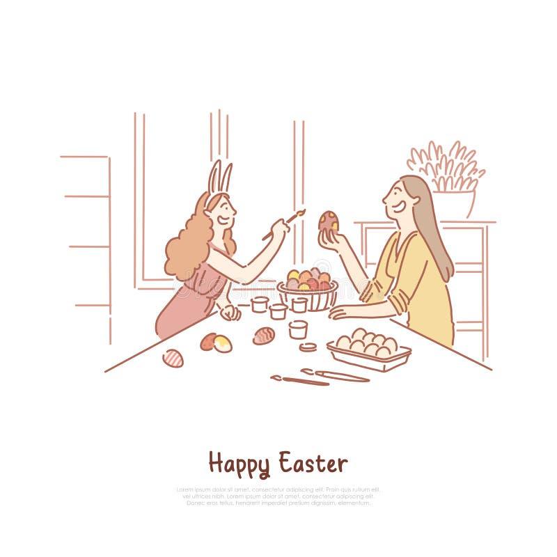 Mutter mit Tochtermalerei pysanka, Mädchen im Häschenohr-Holdingpinsel, Ostern-Traditionsfahne lizenzfreie abbildung
