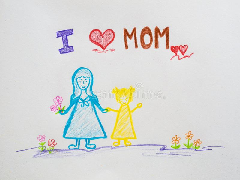 Mutter ` s Tageskonzept Grußkarte glücklicher Mutter-Tag gezeichnet durch p lizenzfreie abbildung