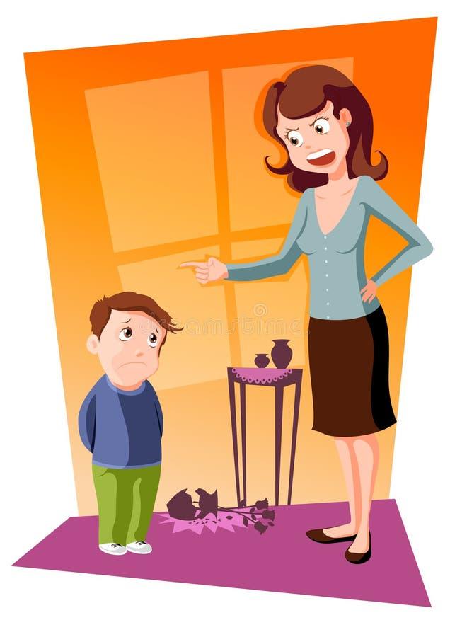 Mutter schilt ihren Sohn lizenzfreie abbildung