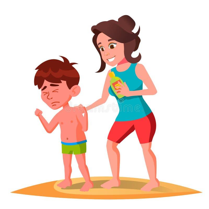 Mutter schmiert die Creme auf der Rückseite des sonnenverbrannten Kindes im Schwimmen-Stamm-Vektor Getrennte Abbildung lizenzfreie abbildung