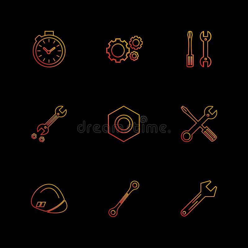 mutter skruvmejsel, skiftnyckel, stoppur, maskinvara, hjälpmedel, Co stock illustrationer