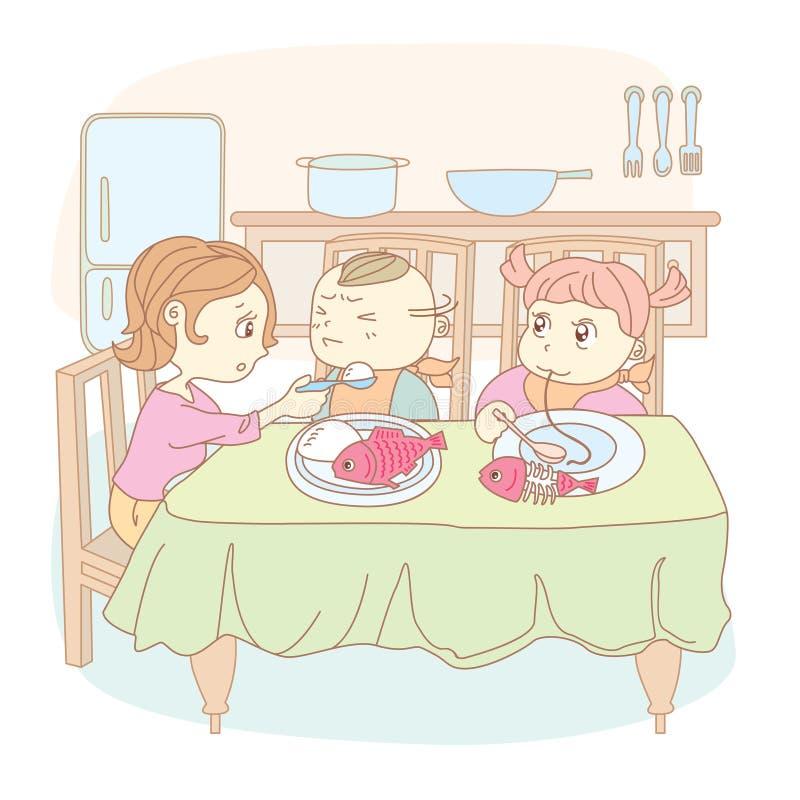 Mutter speist die Kinder stock abbildung